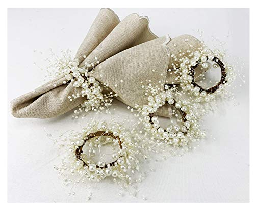 Fennco Styles Handmade Beaded Faux Pearl Wreath Napkin Rings, Set of 4 - Ivory Napkin Holders for Home Decor, Dining Room, Wedding, Banquets and Special Occasions