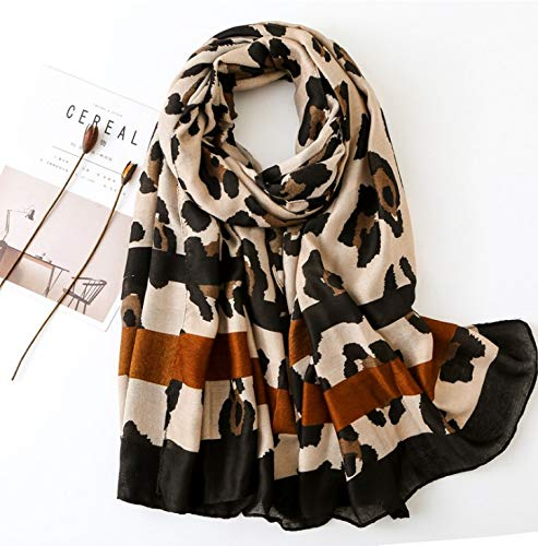 StylesILove Spring Summer Leopard Printed Frayed Scarf Lightweight Wrap Shawl for Women Girls