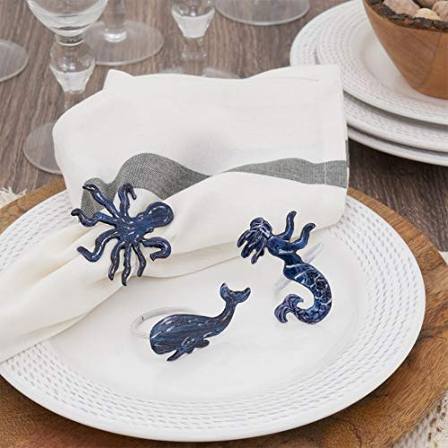 Fennco Styles Navy Blue Coastal Octopus Brass Decorative Napkin Rings, Set of 4