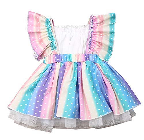 Styles I Love Baby Girls Dots Rainbow Ruffle Romper Dress with White Tube Top 2pcs Outfit Summer Birthday Party Tulle Dress