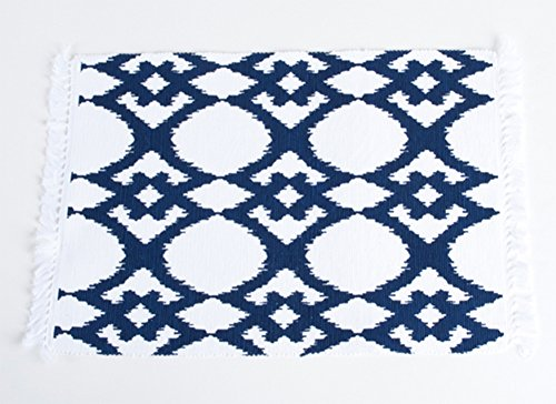 Ikat Ribbed Cotton Traycloth Place Mats with Tassels, 4 Pieces