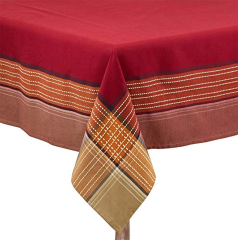 "Fennco Styles Autumn Plaid Border Design 100% Cotton Tablecloth 70""W x 70""L"