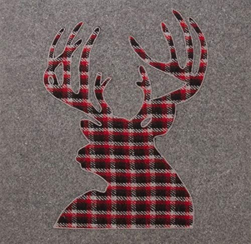 Fennco Styles Christmas Plaid Reindeer Wool Blend Table Runner 16 x 72 Inch - Grey Red Table Cover for Holiday Décor, Banquets, Family Gathering and Special Occasion