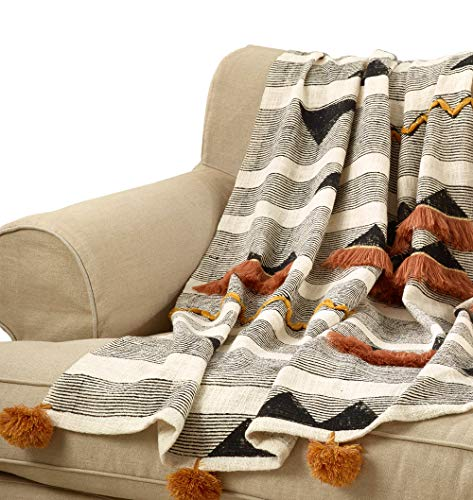 Fennco Styles Sevan Collection Bohemian Appliqué Fringe with Pompoms 100% Cotton 48 x 72 Inch – Multicolor Throw Blanket for Couch, Bedroom and Living Room Décor