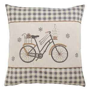 Fennco Styles Applique Bicycle 18 Inch Square Pure Cotton Decorative Throw Pillow for Couch, Sofa, Bedroom, Office and Living Room Décor