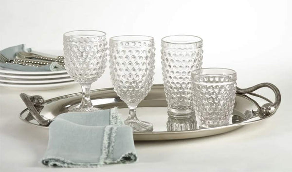 "Hobnail Water Goblet Glass 6-Piece, 6""H Clear Wine Glass Beverage Set"