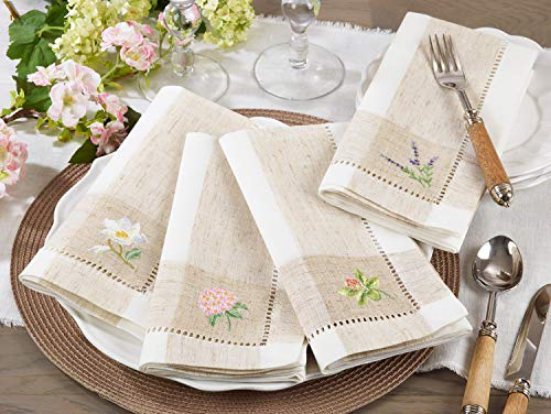 Fennco Styles Hommage Brodé Collection Cottage Orchid Embroidery Hemstitch Border Cloth Napkins 20 x 20 Inch, Set of 4 – Ivory Dinner Napkins for Wedding, Banquet, Tea Party and Home Décor