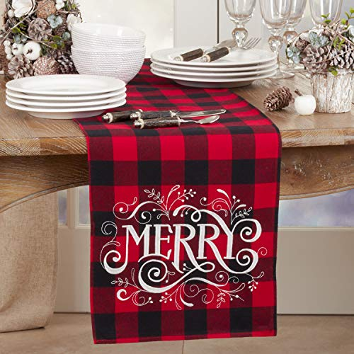 Fennco Styles Holiday Buffalo Plaid Cotton Blend Merry Design Table Runner 14 x 72 Inch - Red & Black Plaid Table Cover for Christmas Decor, Home, Banquet, Family Gathering and Special Occasion