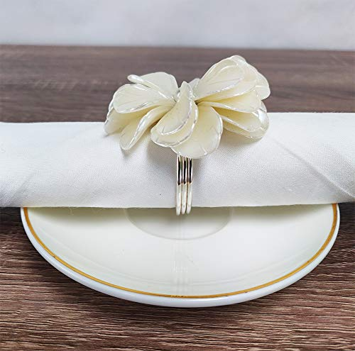 Handmade Pearl Flower Design Decorative Napkin Rings, Set of 4