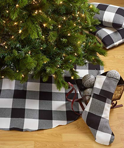 Fennco Styles Home Decor Buffalo Check Plaid Cotton Christmas Tree Skirt