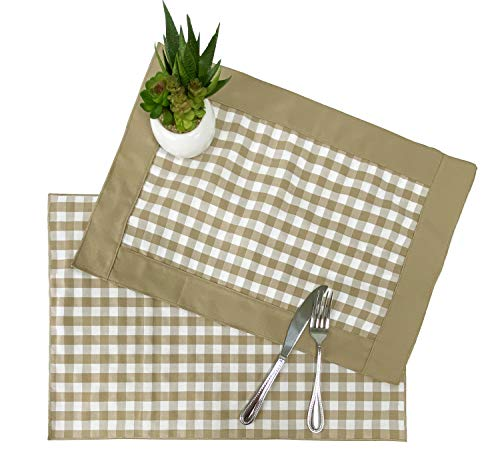 "Fennco Styles Handmade Checkered Reversible Placemats 14"" W x 20"" L, Set of 4"