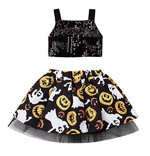 StylesILove Baby Girls Sequin Black Crop Top and Pumpkin Spooky Boo Tulle Skirt 2pcs Halloween Costume Outfit