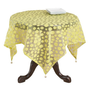 Fennco Styles Flocked Dot Design Organza Table Linens 9 Colors - Lime 54 x 54 Inch Tablecloth for Wedding, Home Décor, Formal Banquets and Special Events