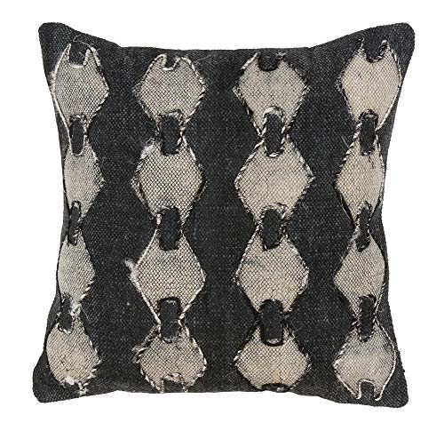 Fennco Styles Modern Geometric Down Filled 18 Inch Square Cotton Decorative Throw Pillow – Grey Boho-Chic Cushion for Couch, Sofa, Bedroom, Office and Living Room Décor