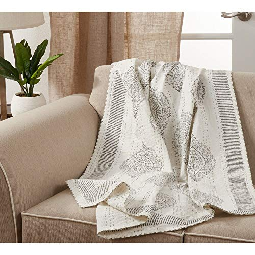 Fennco Styles Luxury Taj Stitch Cotton 50 x 60 Inch Throw – Grey Ivory Throw Blanket for Bed, Couch, Sofa, Home Décor, Ideas