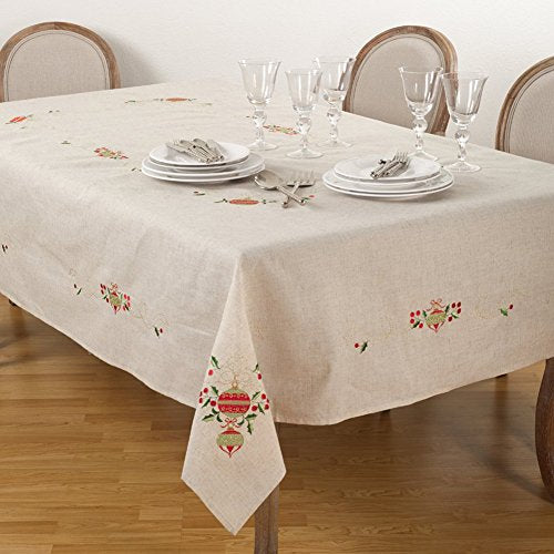 "Fennco Styles Embroidered Christmas Tree Design Holiday Linen Blend Tablecloth (67""x104"" Tablecloth)"
