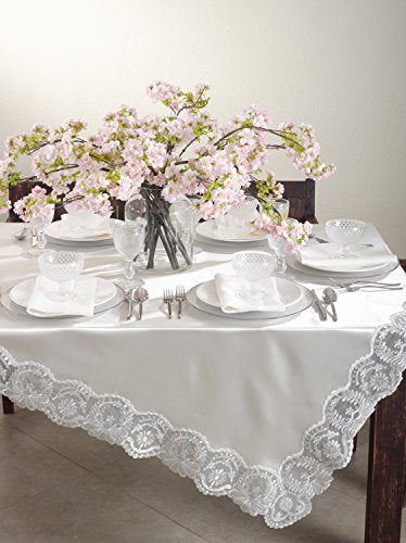 Fennco Styles Victoria Silver Embroidered Design Ivory Tablecloth (84-inch Square)