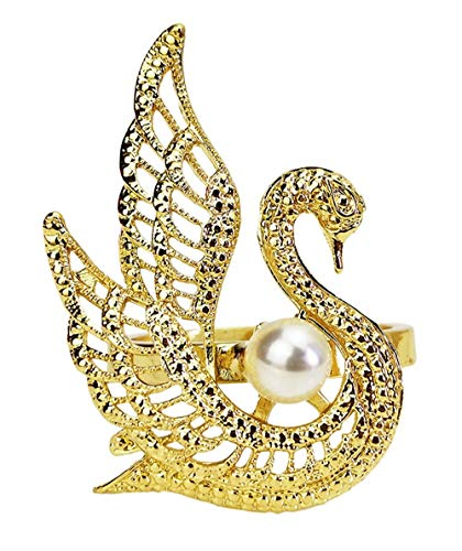 Fennco Styles Exquisite Swan Pearl Metal Napkin Rings, Set of 4 - Jeweled Napkin Holders for Home Decor, Dining Table, Banquets, Wedding and Special Occasions