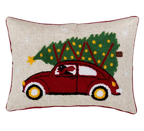 "Fennco Styles Holiday Tree in Retro Red Car Decorative Down-Filled Throw Pillow 14"" W x 20"" L - Multicolored Cushion for Home, Couch, Living Room, Office and Christmas Decor"