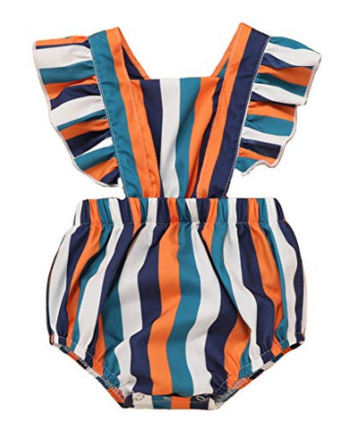 Styles I Love Infant Baby Girls Colorful Stripes Ruffle Cross Back Romper Sunsuit Sleeveless Jumpsuit Spring Summer Outfit