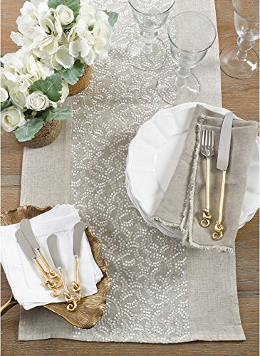 "Fennco Styles Pretty Willows Embroidered Table Runner 16"" W x 72"" L - Natural Table Cover for Home Décor, Banquets, Family Gathering and Special Events"