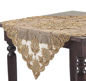 Fennco Styles Lakshmi Collection Elegant Hand Beaded Table Topper