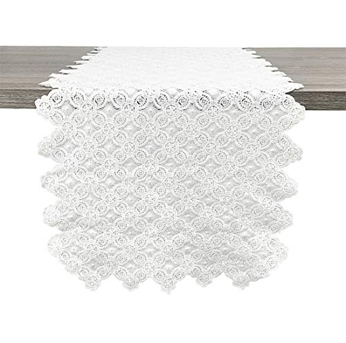 "Fennco Styles Embroidered Floral Hollow Lace Table Runner 14"" W x 71"" L - White Table Cover for Home, Dining Table Decor, Banquet, Wedding and Special Event"