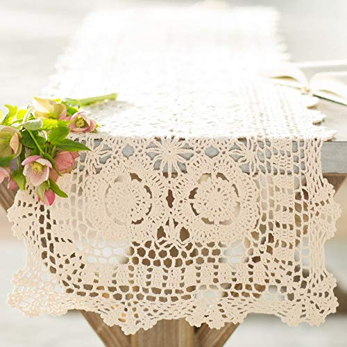 "Handmade Crochet Lace Cotton Rectangular Table Runner, Various Sizes (16""x72"", beige)"