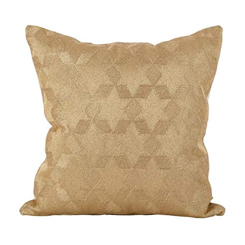 Fennco Styles Metallic Stitched Star Cotton Decorative Throw Pillow Cover 18-Inch Square - Gold Shimmering Case for Home, Couch, Living Room, Office and Bedroom Decor