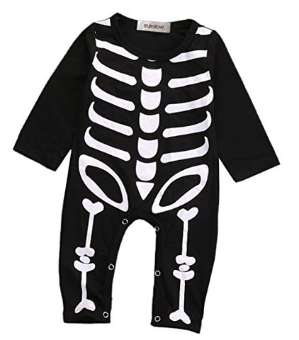 stylesilove Unisex Baby Chic Skeleton Long Sleeve Romper Halloween Costume