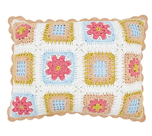 "Fennco Styles Pastel Crochet Tiles 100% Pure Cotton Decorative Throw Pillow 12"" W x 16"" L - Multicolored Accent Cushion for Couch, Sofa, Bedroom, Office and Living Room Décor"