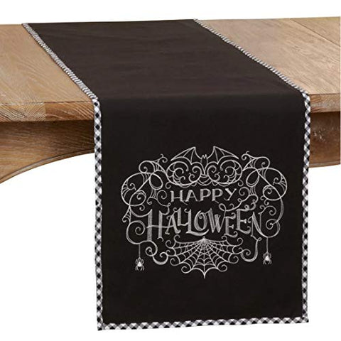 "Fennco Styles Happy Halloween Table Runner with Checkered Border Design 14"" W x 72"" L"