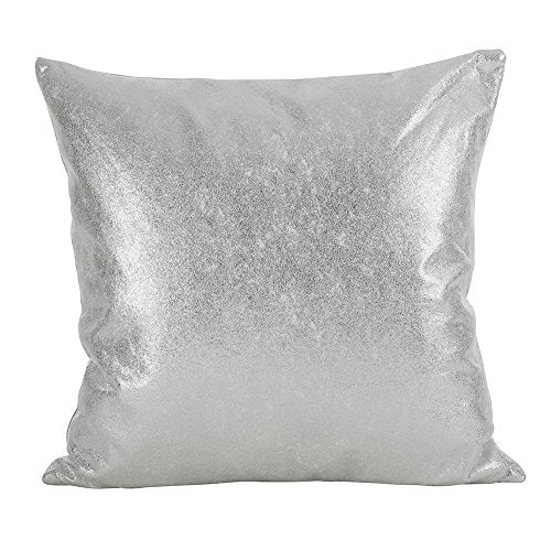 "Fennco Styles Decorative Metallic Glam Throw Pillow (20""x20"" Pillow, Silver)"