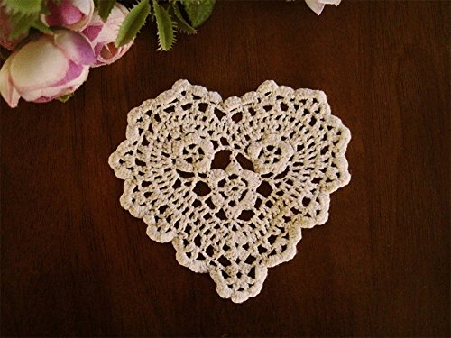 Fennco Styles Handmade Crochet Lace Heart Shape Centerpiece Doily - 5 Sizes - 2 Colors