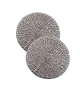Fennco Styles Natural Water Hyacinth Decorative Round Hand Woven Rattan Placemat (2 Pack, Silver)