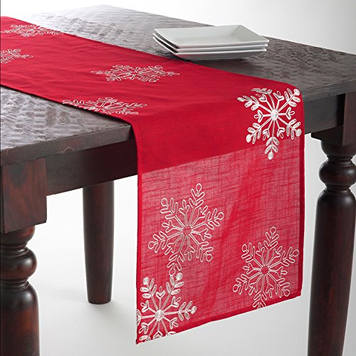 Fennco Styles Embroidered White Snowflake Christmas Tablecloth - Red Table Cover for Holiday Décor, Dinner Party, Banquets and Special Occasion