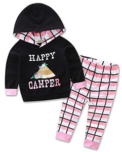 StylesILove Newborn Infant Toddler Baby Girl Happy Camper Long Sleeve Hoodie and Plaid Pants Casual Clothing Set 2-Piece