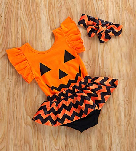 Styles I Love Infant Baby Girls Pumpkin Ruffle Sleeve Bodysuit and Zigzag Satin Skirt with Headband 3pcs Halloween Outfit