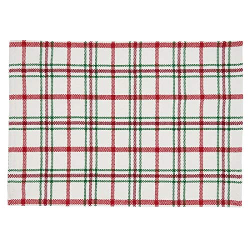 "Fennco Styles Holiday Plaid Design 100% Cotton Table Runner 13"" W x 72"" L - Red Green Table Cover for Home, Dining Table Decor, Banquet, Christmas and Special Event"