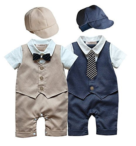Baby Boy Formal Wear Romper and Hat 2-Piece Outfit