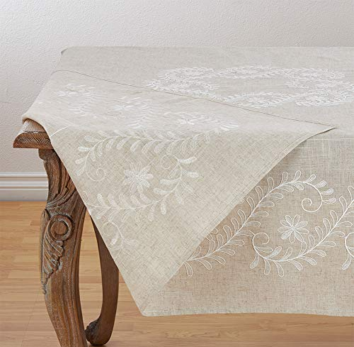 Fennco Styles Embroidered Floral Design Poly-Linen Tablecloth