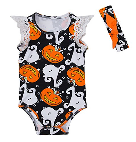 stylesilove Infant Baby Girls Spooky Boo Pumpkin Print Lace Cap Sleeve Cotton Bodysuit and Headband 2pcs Halloween Outfit