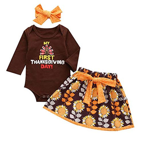 StylesILove Baby Girls My 1st Thanksgiving Long Sleeve Bodysuit and Flower Skirt with Headband 3pcs Holiday Outfit