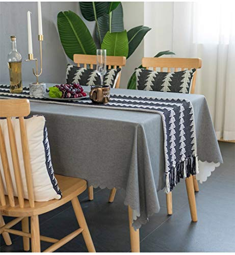 "Fennco Styles Reversible Geometric Design Canvas Cotton Table Runner with Tassels 14"" W x 71""L"