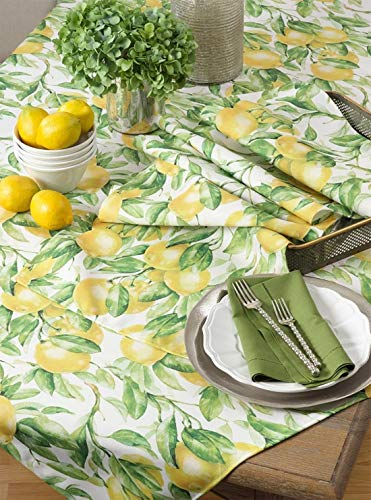 Fennco Styles Lemon Printed Cloth Napkins 20 x 20 Inch, Set of 4 - Multicolored Dinner Napkins for Home Décor, Dining Room, Banquets, Everyday Use and Special Occasions