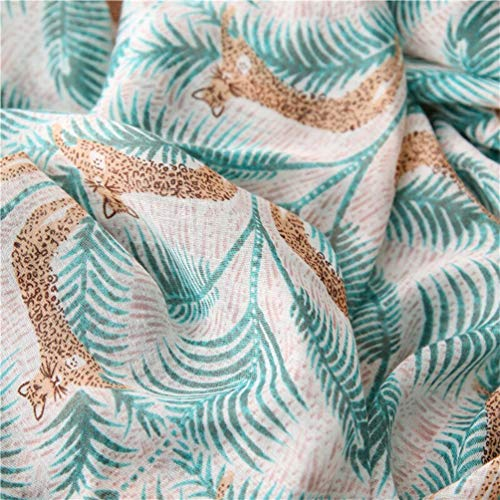 StylesILove Spring Summer Tropical Palm Leaf Leopard Printed Lightweight Cotton Scarf Wrap Shawl for Women