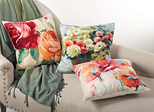 Fennco Syles Floral Design Down Filled Decorative Throw Pillow, 18-inch Square …