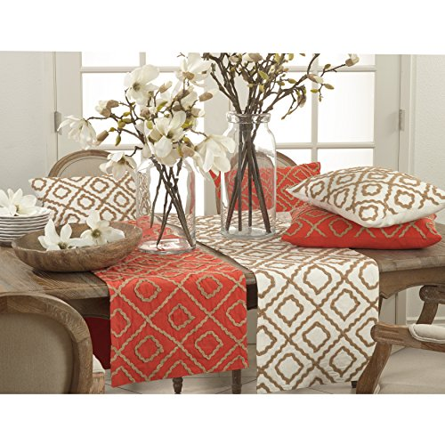 Fennco Styles Jute Embroidered Design 100% Cotton Table Runner for Home Décor, Banquets and Special Occasions
