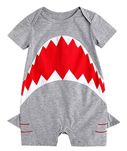stylesilove Infant Baby Boys Shark Grey Cotton Romper Spring Summer Casual Outfit Halloween Costume