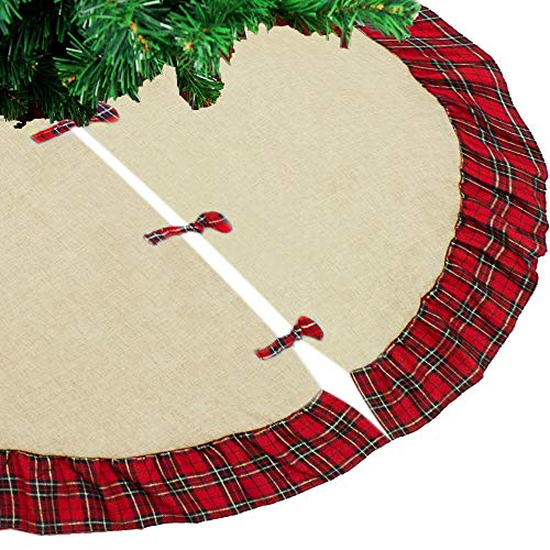 Fennco Styles Holiday Tartan Plaid Dazzle Christmas Decorative Tree Skirt